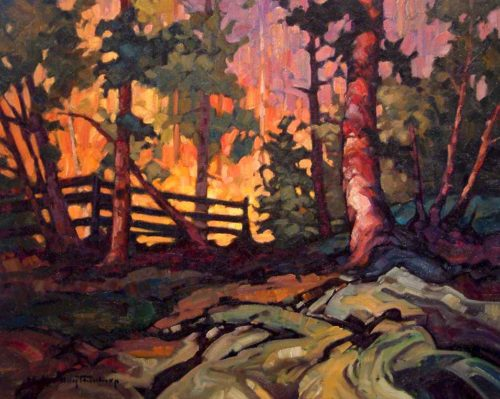 "SOLD ""Backlit Fence,"" by Phil Buytendorp 16 x 20 - oil $1120 Framed"