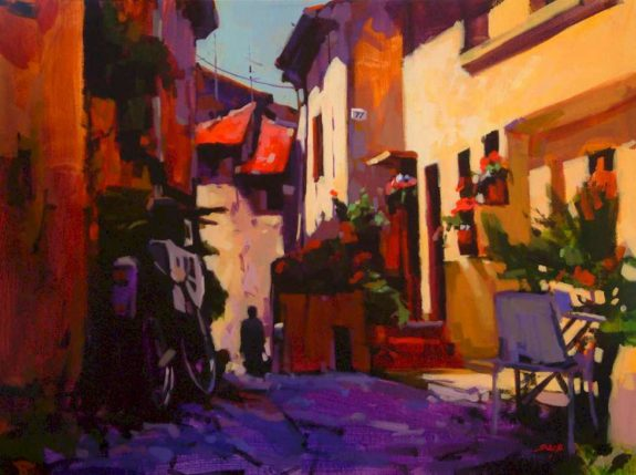 "SOLD ""The Back Stair (Dieulefit, France),"" by Mike Svob 18 x 24 - acrylic $2200 Framed"