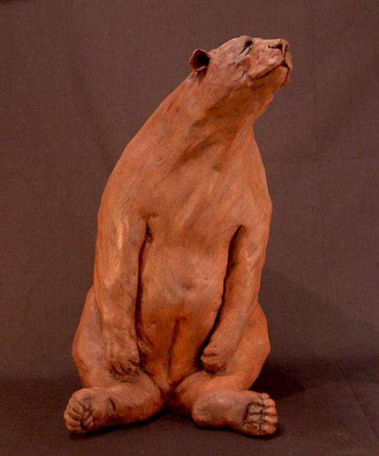 "SOLD ""Bus Stop Bear #1"" Original Fired Clay - 15"" high $875"