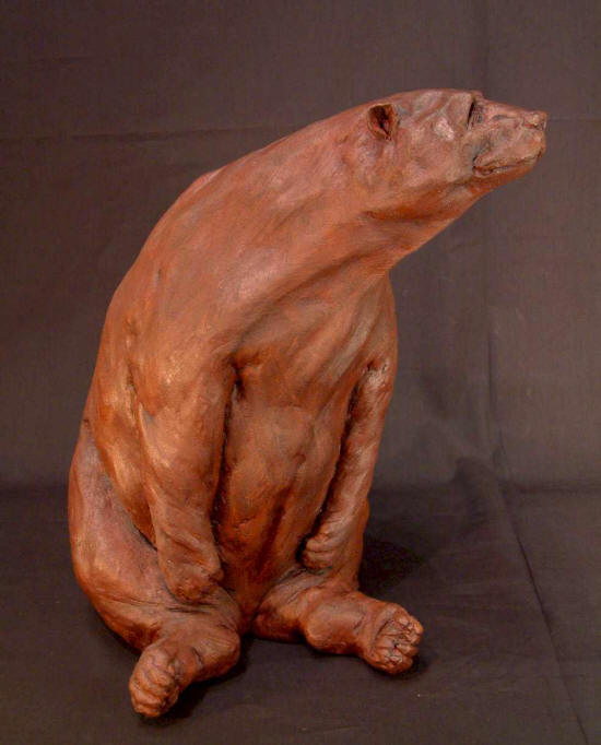 "SOLD ""Bus Stop Bear #3"" Original Fired Clay - 15"" high $875"