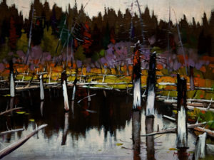 "SOLD ""Beaver Pond,"" by Min Ma 9 x 12 – acrylic $755 Framed"