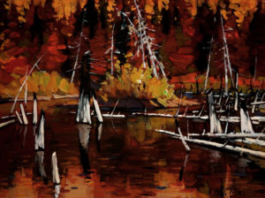 "SOLD ""Beaver Pond in Fall,"" by Min Ma 9 x 12 – acrylic $740 Unframed"