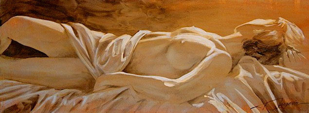 "SOLD ""The Bedroom Pose - Study"" 9 x 24 - acrylic/mixed media $975 Framed"