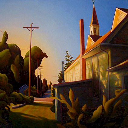 "SOLD ""Behind the Church, Crescent Beach"" 36 x 36 - oil $2850 (canvas wrap without frame)"