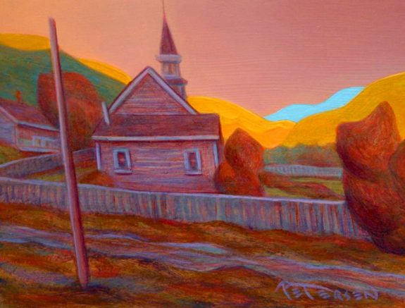 "SOLD ""Behind the Church, Pavilion, B.C.,"" by Niels Petersen 6 x 8 - oil $420 Framed"