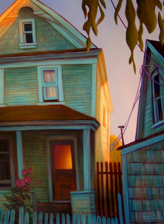 "SOLD ""Between the Houses, Union Street"" 24 x 30 - oil $1950 Framed"