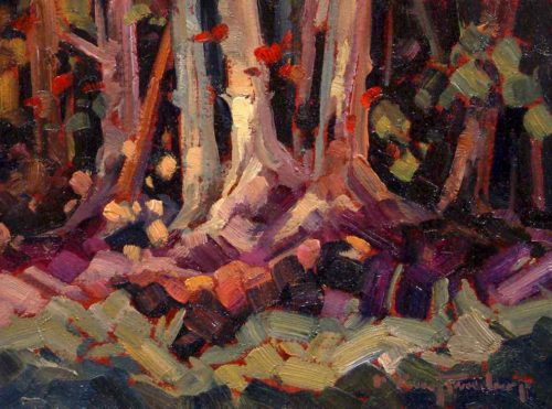 "SOLD ""Birch Bottoms,"" by Phil Buytendorp 6 x 8 - oil $460 Framed"