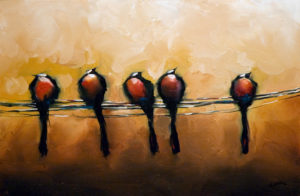 """SOLD """"Birds of a Feather""""  by Harold Braul 20 x 30 – oil $1140 Unframed"""