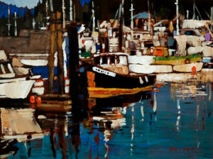 "SOLD ""Boats in Marina,"" by Min Ma 6 x 8 – acrylic $440 Unframed"