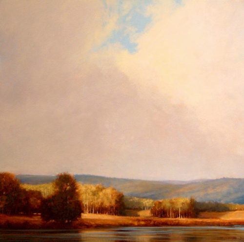 "SOLD ""Breaking Skies Over Corbett Lake,"" by Renato Muccillo 24 x 24 - oil $2280 Framed"
