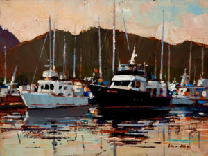 "SOLD ""Calm Reflections,"" by Min Ma 6 x 8 – acrylic $440 Unframed"