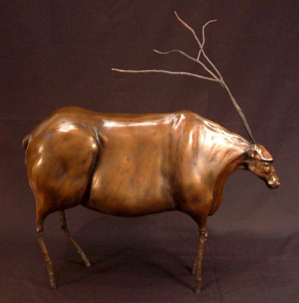 "SOLD OUT ""Caribou,"" by Nicola Prinsen Bronze - 21"" (H) (incl. antlers) x 18"" (L) No. 4 of edition of 5 - $2800"