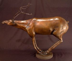 "SOLD OUT Caribou - ""Halibu,"" by Nicola Prinsen Bronze - 21"" (H) (incl. antlers) x 25"" (L) Edition of 5 $3300"