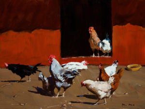"SOLD ""Chickens,"" by Min Ma 9 x 12 – acrylic $755 Framed"