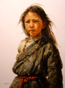 "SOLD ""Child of the Wind"" by Donna Zhang 30 x 40 - oil $6550 Framed ($7260 with custom show frame)"