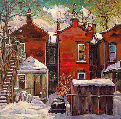 "SOLD ""Chimney Dance in N.E. Hamilton"" 18 x 18 - oil $985 Framed"