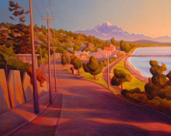 "SOLD ""City by the Sea, White Rock,"" by Niels Petersen 24 x 30 - oil $2100 Framed"