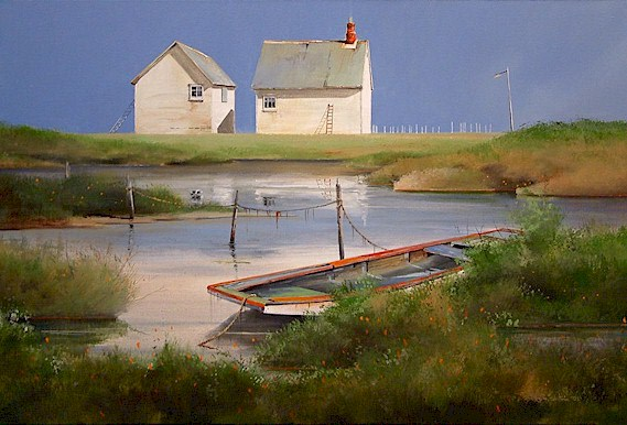 """SOLD """"Clear Day at Tilting"""" 24 x 36 - acrylic $2600 Framed"""