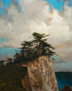 "SOLD ""Cliff Top,"" by Min Ma 24 x 30 – acrylic $3675 Unframed"