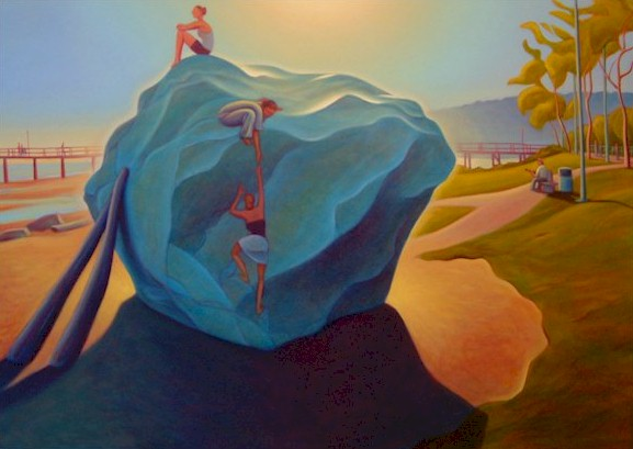"SOLD ""Climbing the White Rock"" 36 x 48 - oil $3350 Framed"