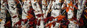 """SOLD """"Contrast and Colour""""  by Maya Eventov 16 x 48 – acrylic $2100 Unframed"""