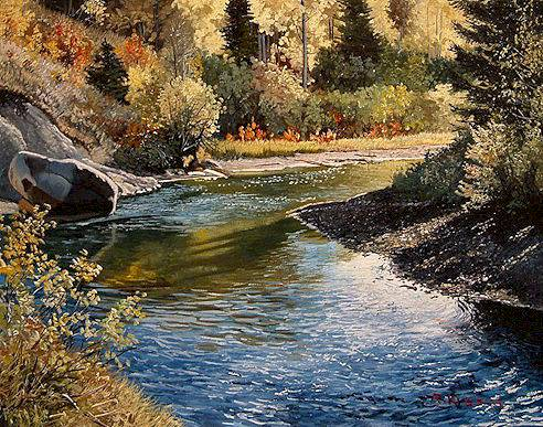 "SOLD ""Creek"" 11 x 14 - oil $1200 Framed"