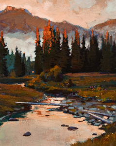 "SOLD ""Creekside,"" by Min Ma 8 x 10 – acrylic $580 Unframed"