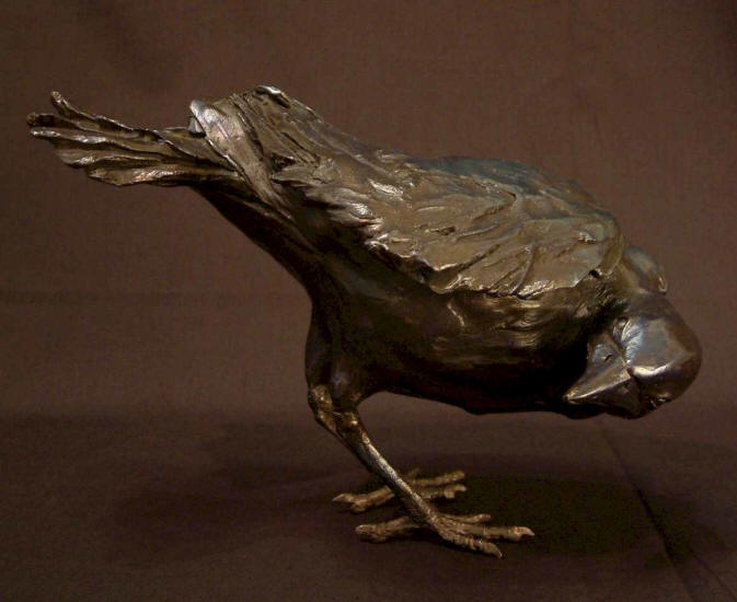 "Crow - ""Looking Back"" Bronze - 7 1/2"" high No. 6 of edition of 25 - $2,200 - SOLD"