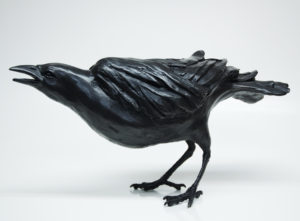 "SOLD OUT ""Squawking"" Bronze crow by Nicola Prinsen 7"" (H) x 13 1/2"" (L) Edition of 25 $2200"
