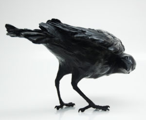 "SOLD OUT ""Looking Back"" Bronze crow by Nicola Prinsen 7 1/2"" (H) x 10 1/2"" (L) Edition of 25"