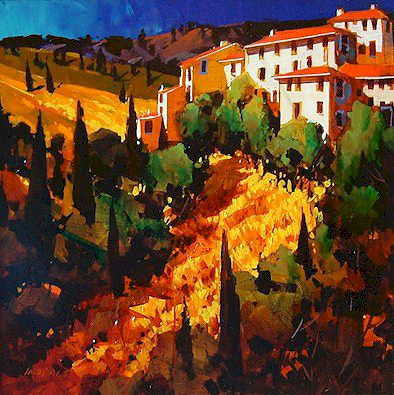 "SOLD ""Definitely Tuscan"" 24 x 24 - acrylic $1550 Framed"