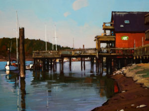 "SOLD ""Dock Scene,"" by Min Ma 9 x 12 – acrylic $755 Framed"