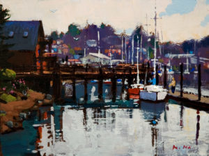 "SOLD ""Dock View, La Conner,"" by Min Ma 6 x 8 – acrylic $440 Unframed"