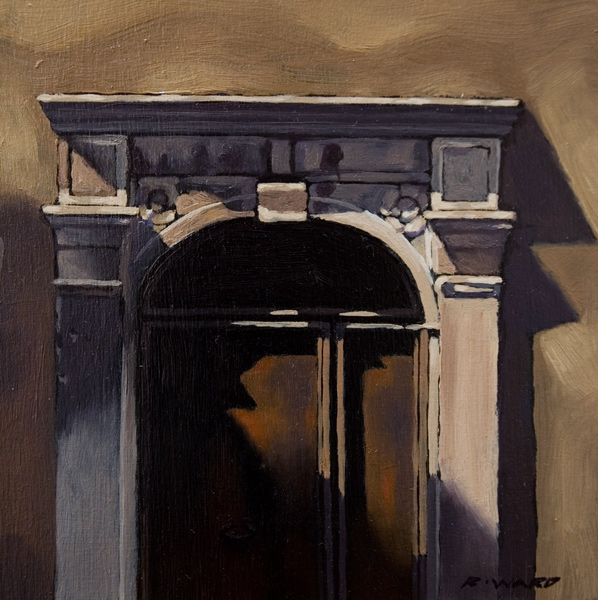 "SOLD ""Doorway, St. Paul de Vence"" 6 x 6 - oil $450 Framed"