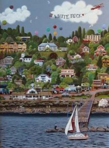 """SOLD """"White Rock"""" by Helen Downing-Hunter 18 x 24 – acrylic $1990 Framed"""