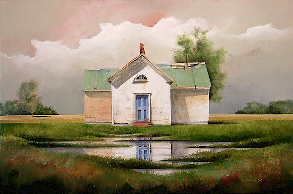 "SOLD ""The Empty House"" 20 x 30 - acrylic $2165 Framed"