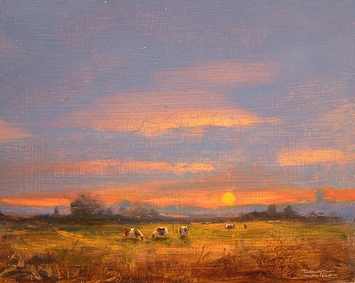 "SOLD ""Evening Grazers"" 8 x 10 - oil $510 Framed"