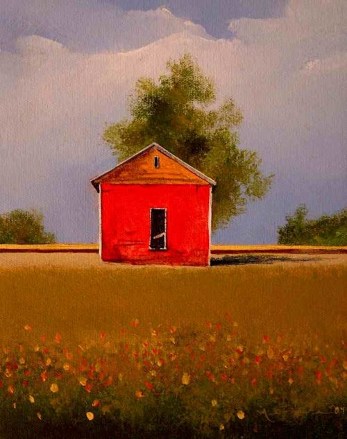 "SOLD ""Fall Granary,"" by Mark Fletcher 8 x 10 - acrylic $550 Unframed"