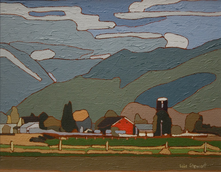 "SOLD ""Farm Scene"" by Lois Stewart 8 x 10 - acrylic"