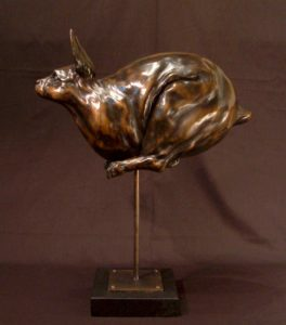 "SOLD OUT ""Fast Bunny #2,"" by Nicola Prinsen Bronze - 19"" (H) (incl. base) x 15"" (L) Edition of 5 $2,400"