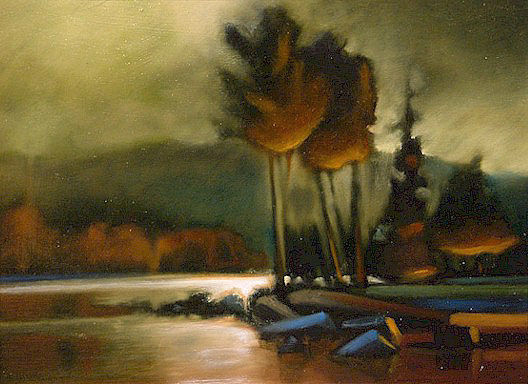 "SOLD ""Firelight"" 9 x 12 - oil $555 Framed"