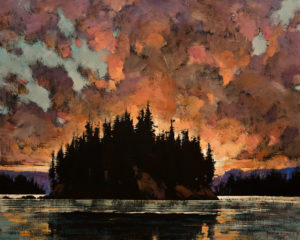 "SOLD ""The First Light,"" by Min Ma 24 x 30 – acrylic $4060 Unframed"