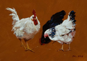 "SOLD ""The Friends,"" by Min Ma 5 x 7 – acrylic $420 Framed"