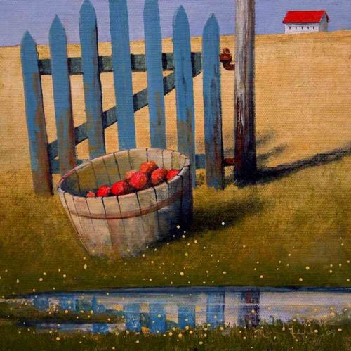 "SOLD ""Gate and Basket,"" by Mark Fletcher 8 x 8 - acrylic $500 Unframed"