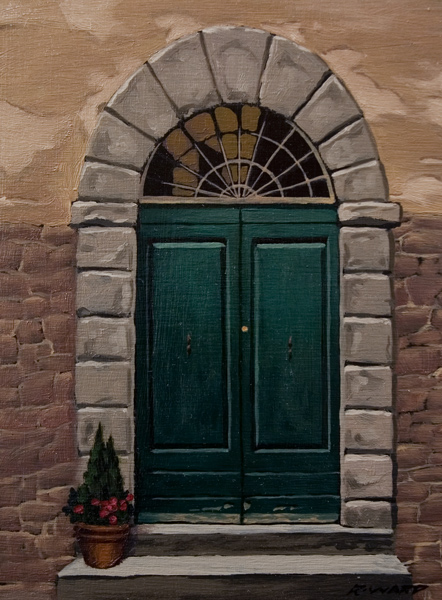 "SOLD ""Green Door, Umbria"" 6 x 8 - oil $560 Framed $600 Custom framed"