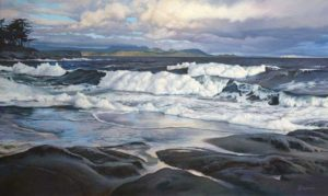 """SOLD """"Surf Study – Echoed Forms""""  by Paul Grignon 16 x 26 – original acrylic $1800 Framed"""
