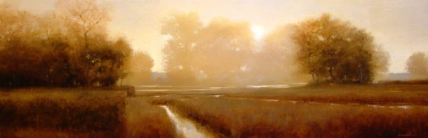 "SOLD ""Hedge and Ditches"" by Renato Muccillo 12 x 36 - oil $2360 Framed ($2450 with custom show frame)"
