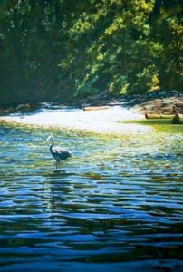 """SOLD """"Heron on Tent Island"""" by Carol Evans 20 x 29 – watercolour $8000 Framed"""