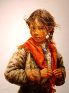 "SOLD ""Hesitation"" by Donna Zhang 36 x 48 - oil $9300 Framed ($10,100 with custom show frame)"