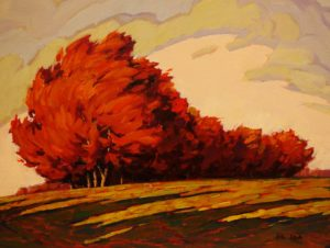 "SOLD ""Hillside View,"" by Min Ma 9 x 12 – acrylic $755 Framed"
